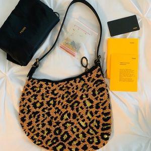 Auth ✅FENDI ❤️Beaded Shoulder Bag Oyster leopard👠